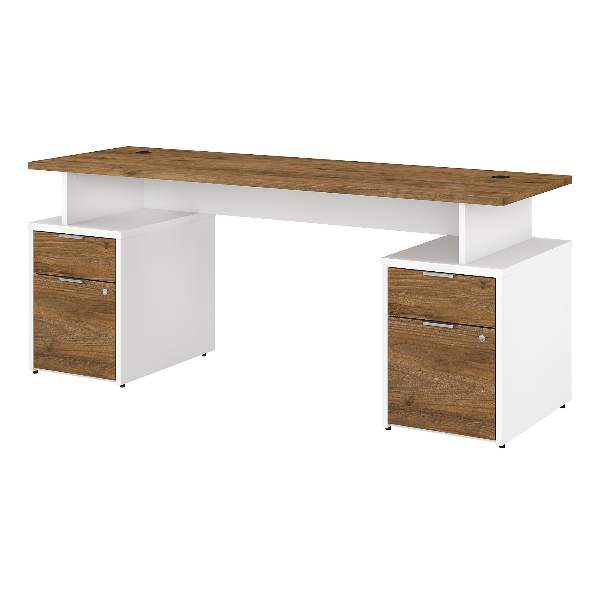 jamestown fresh walnut and white double pedestal desk