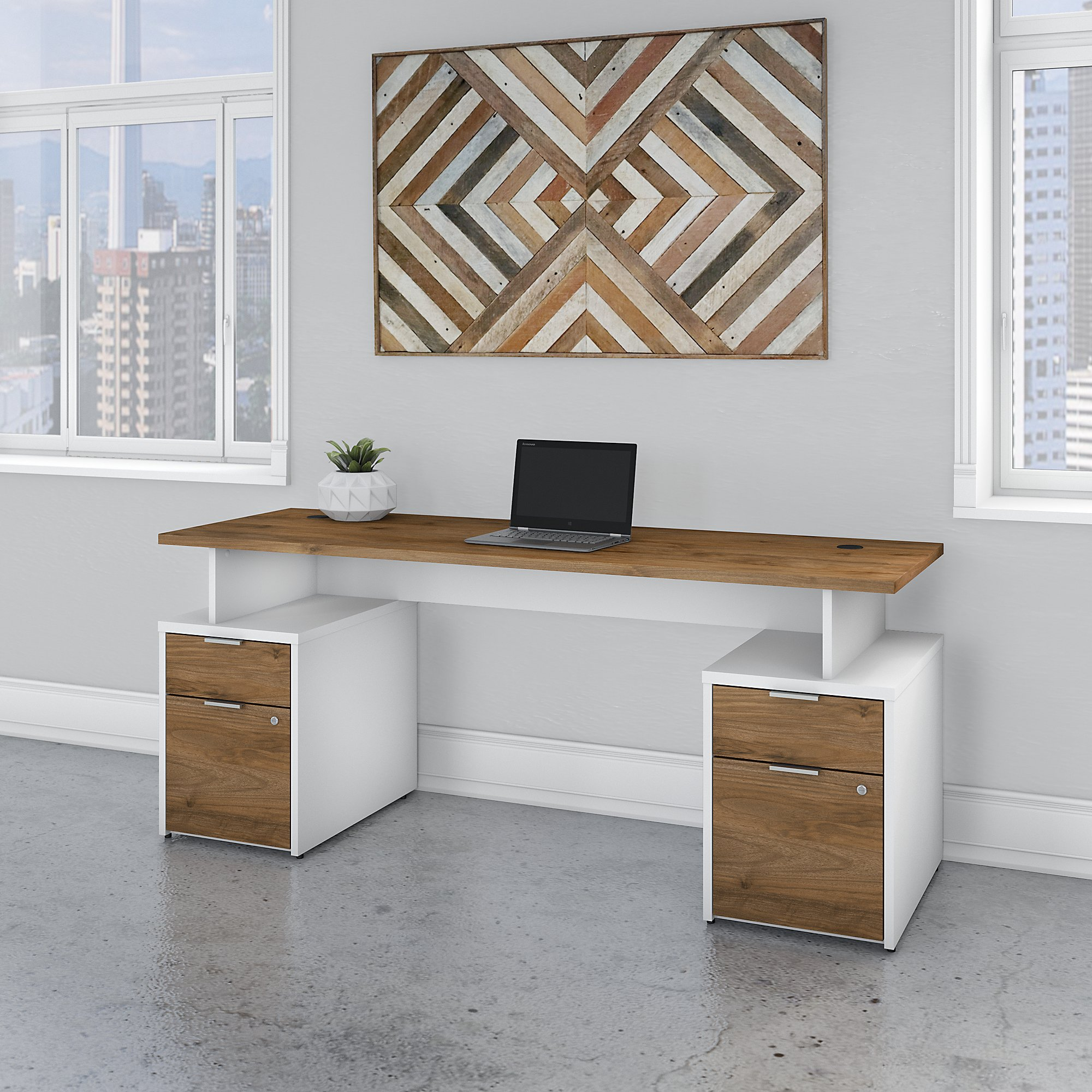 jtn005 fresh walnut and white jamestown desk