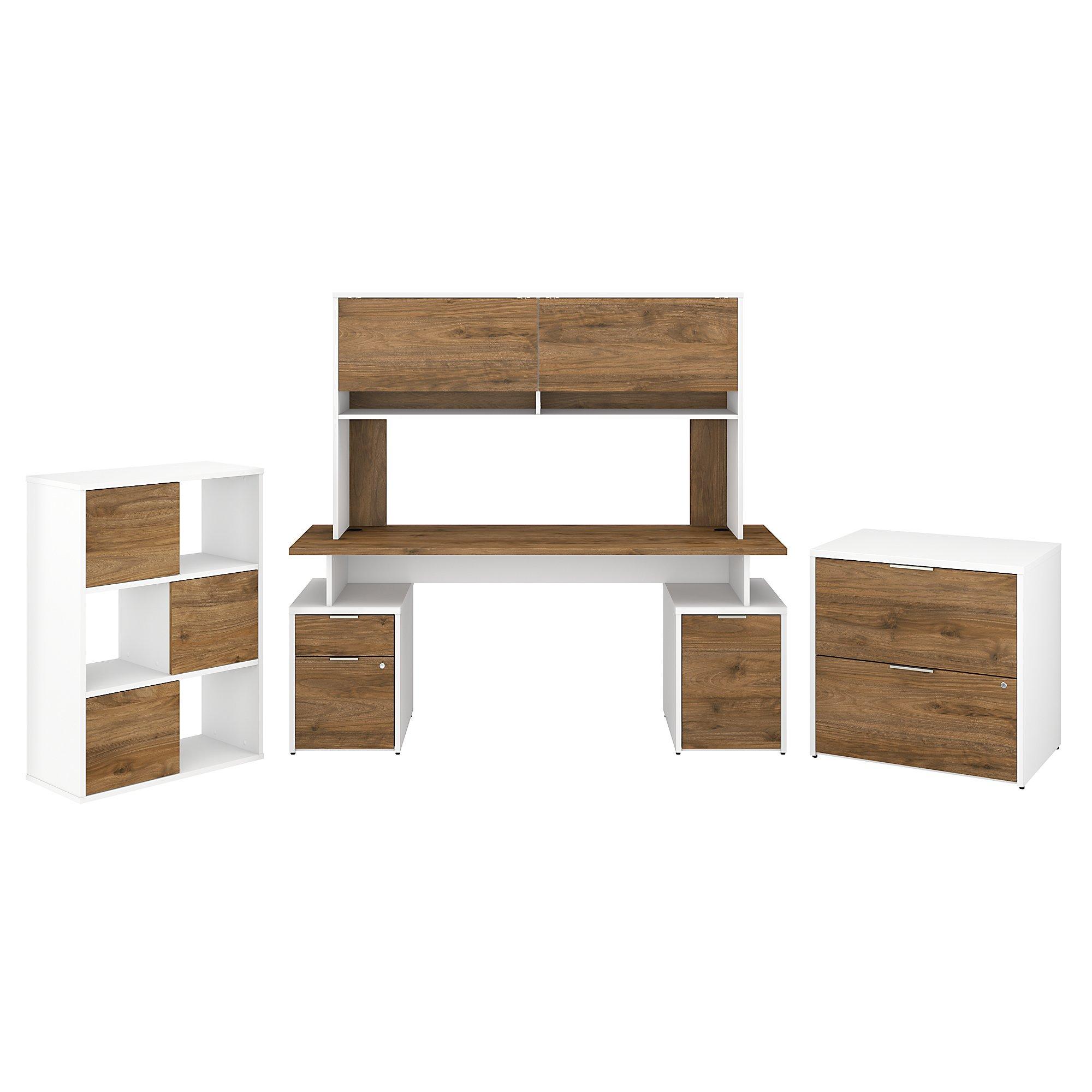 jtn008 walnut and white jamestown desk set