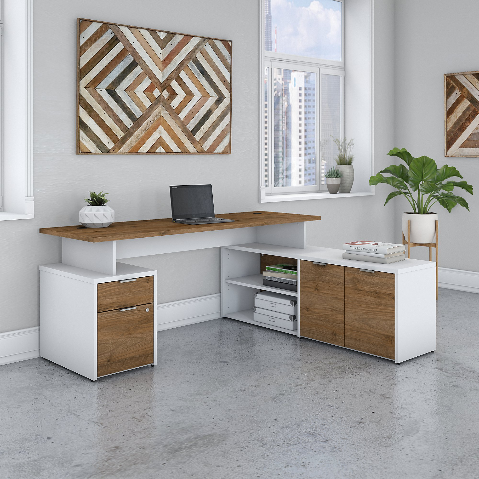 jamestown collection walnut and white l-desk