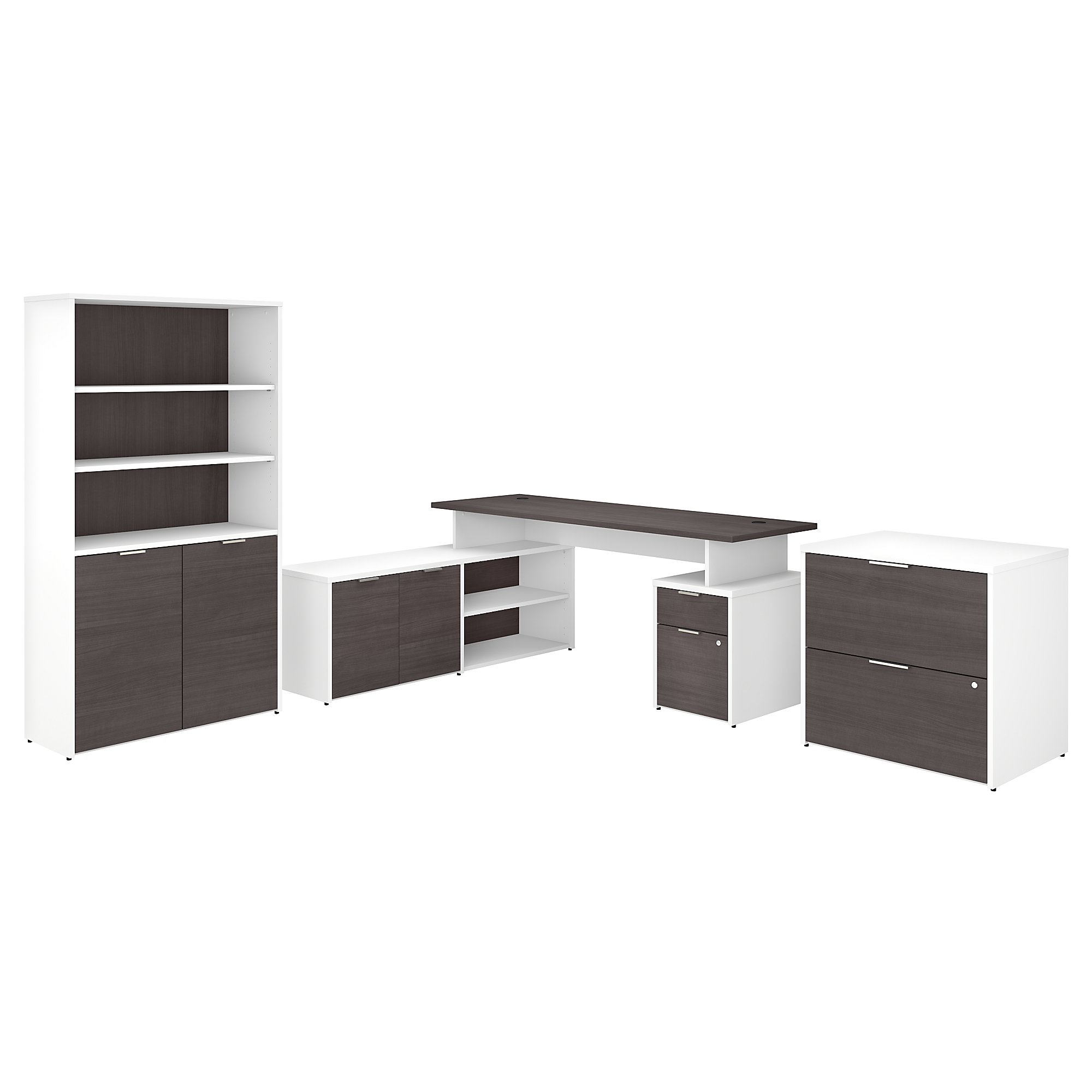 Bush Business Furniture Jamestown 72w L Shaped Desk With Lateral File Cabinet And 5 Shelf Bookcase