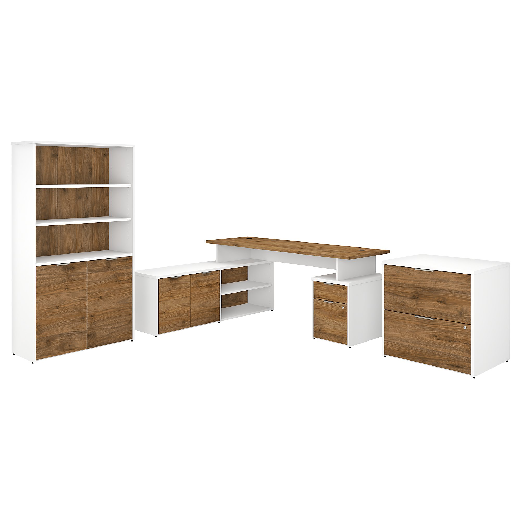 Bush Business Furniture Jamestown 31W L Shaped Desk with Lateral File  Cabinet and 31 Shelf Bookcase