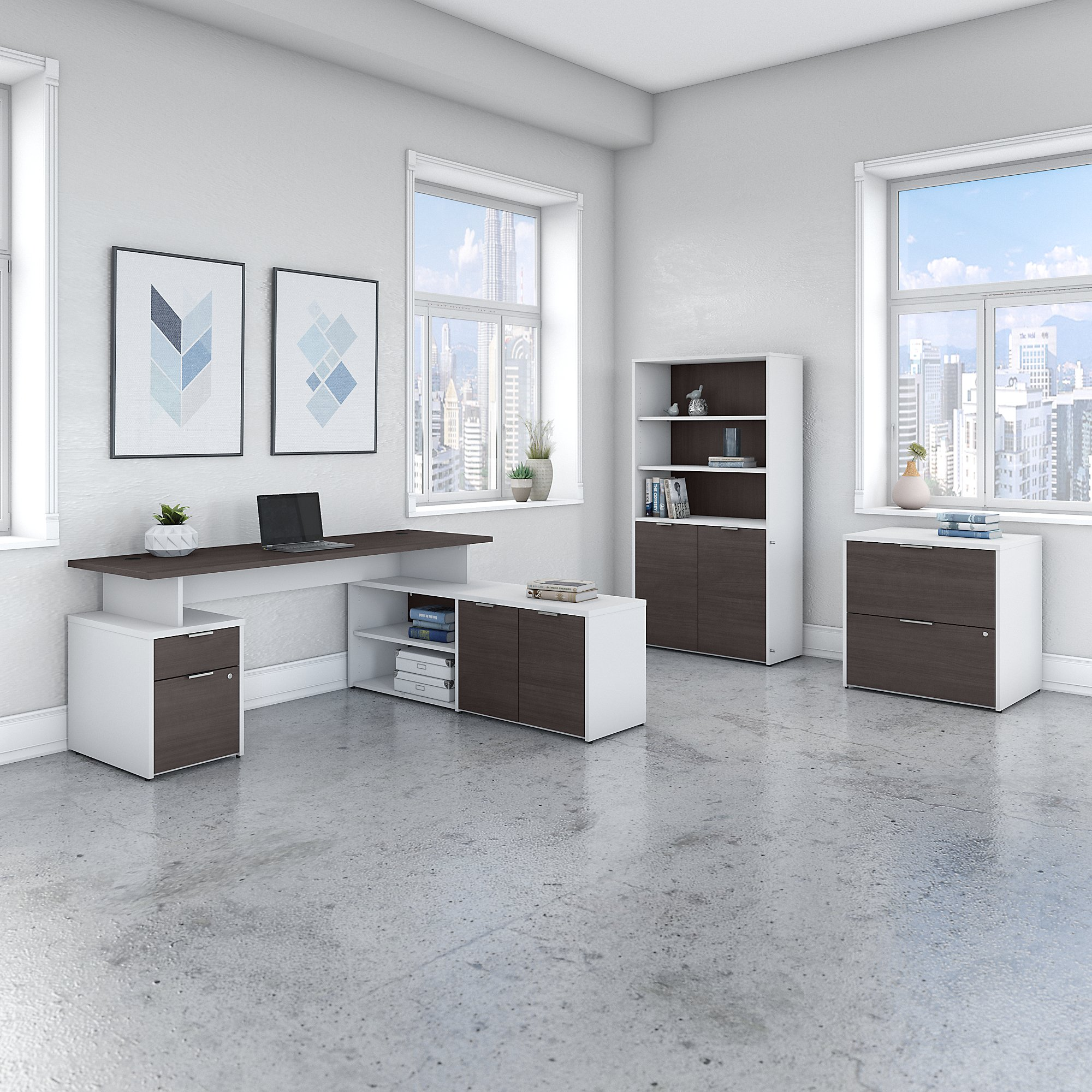 model jtn011 jamestown gray and white l desk set