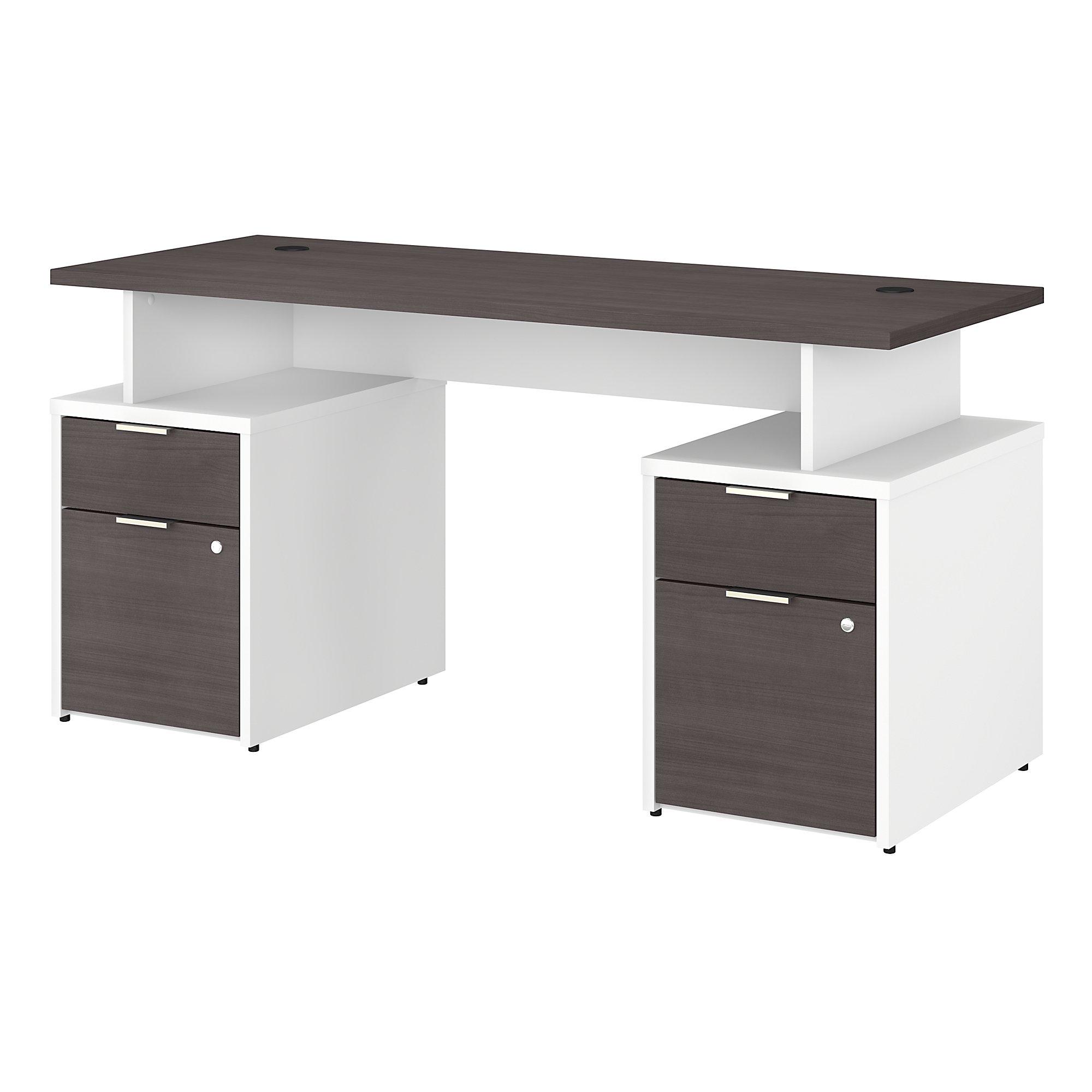 jtn017 storm gray and white jamestown double pedestal desk