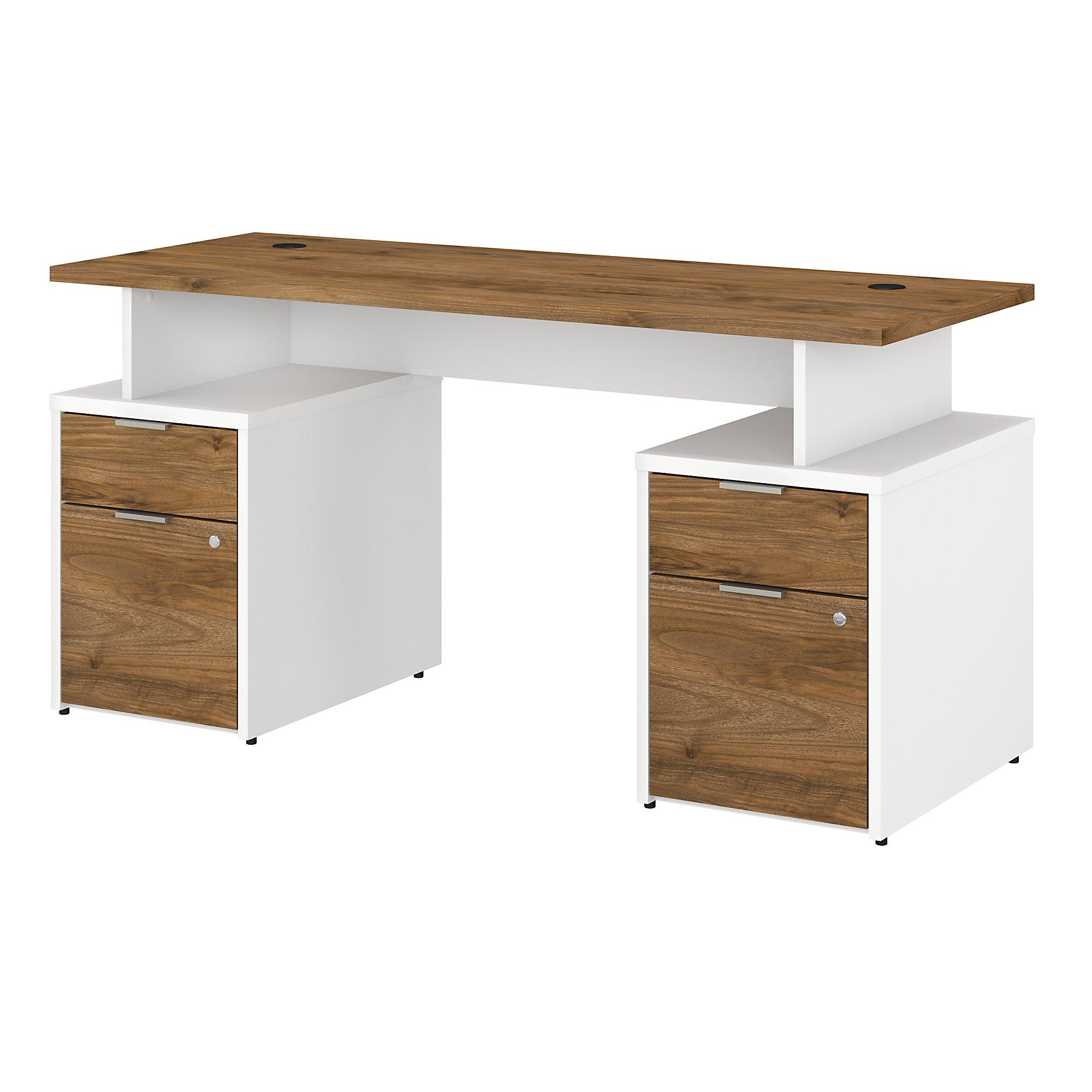 jtn017 fresh walnut and white jamestown double pedestal desk
