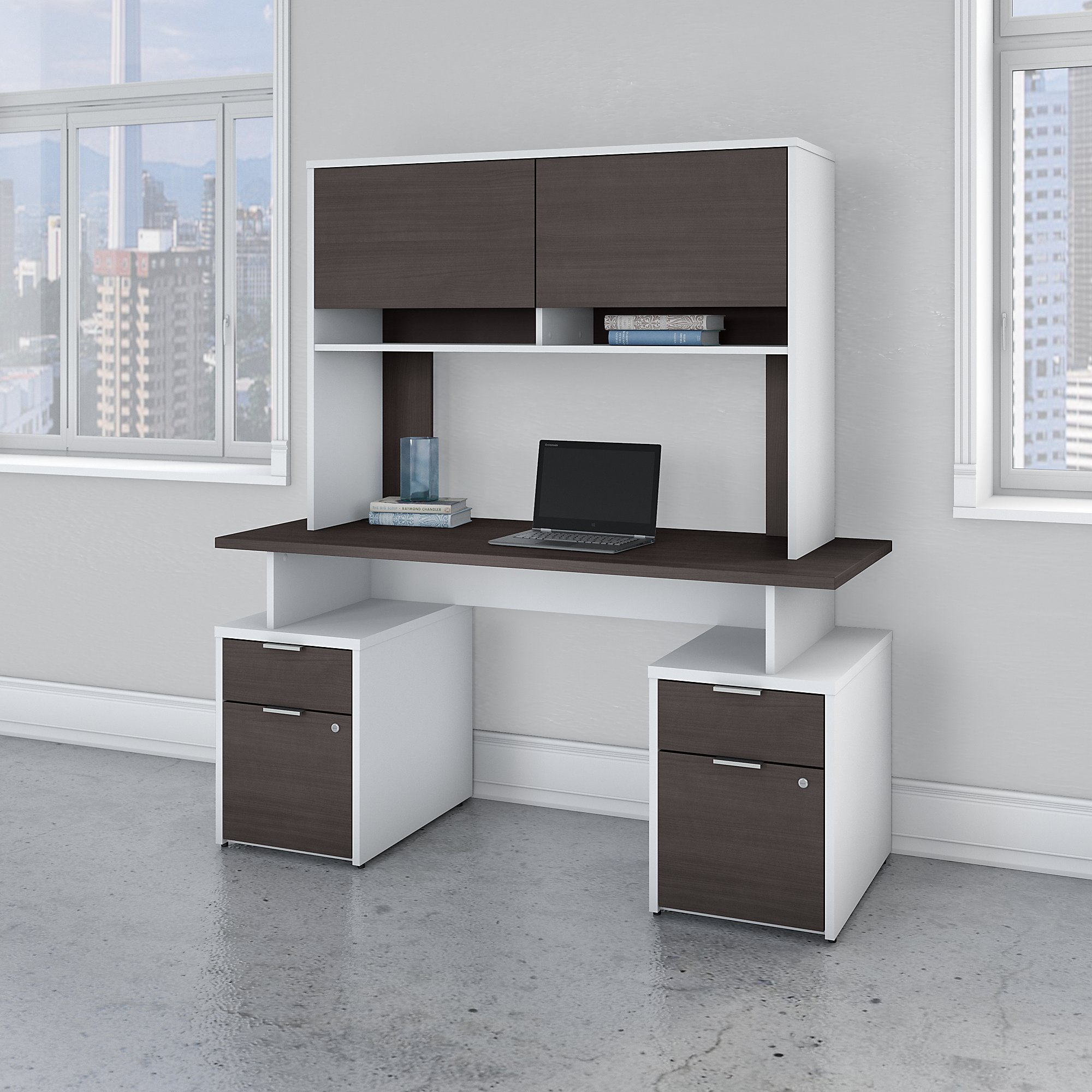 jamestown storm gray and white double pedestal desk with hutch