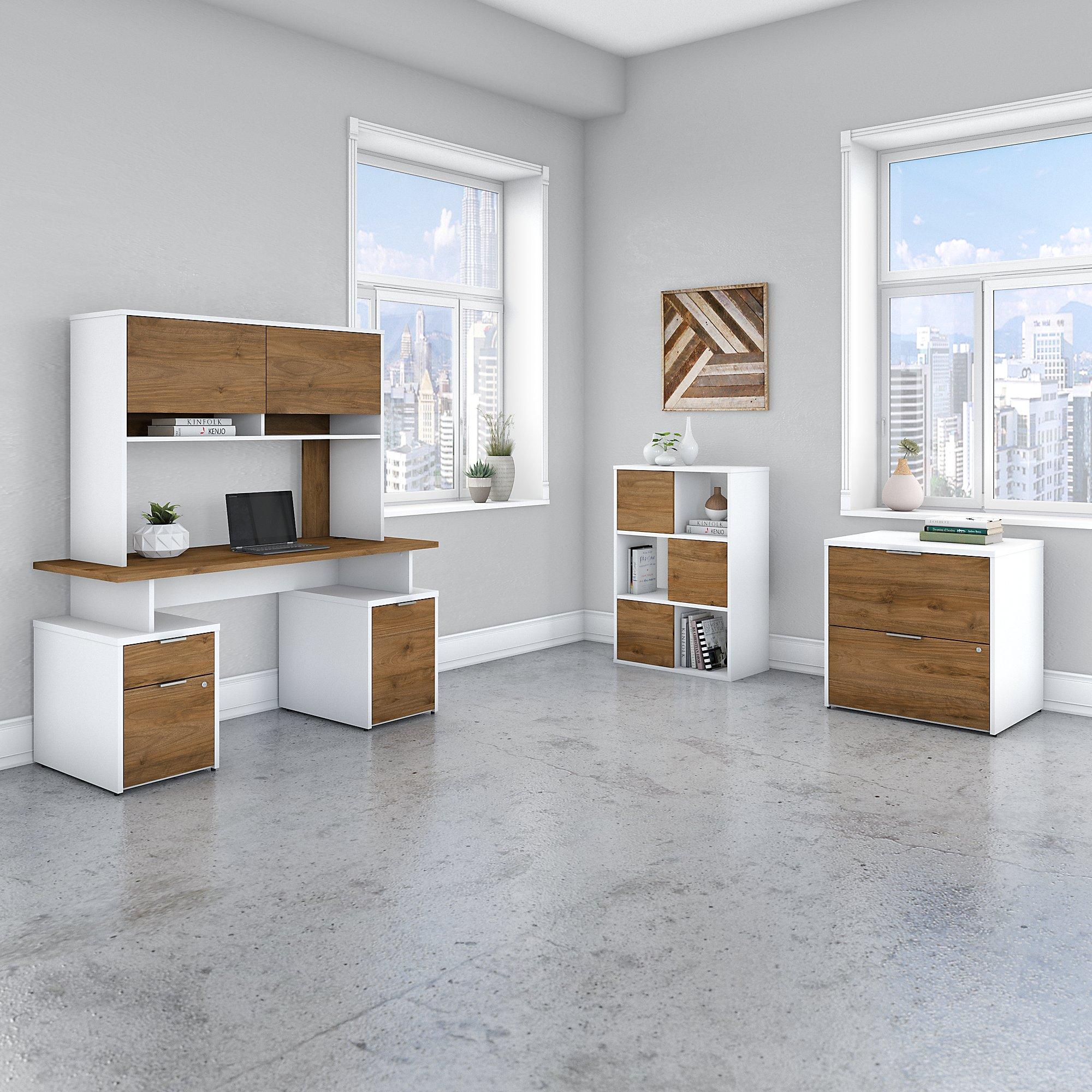 bbf jamestown fresh walnut and white office furniture set