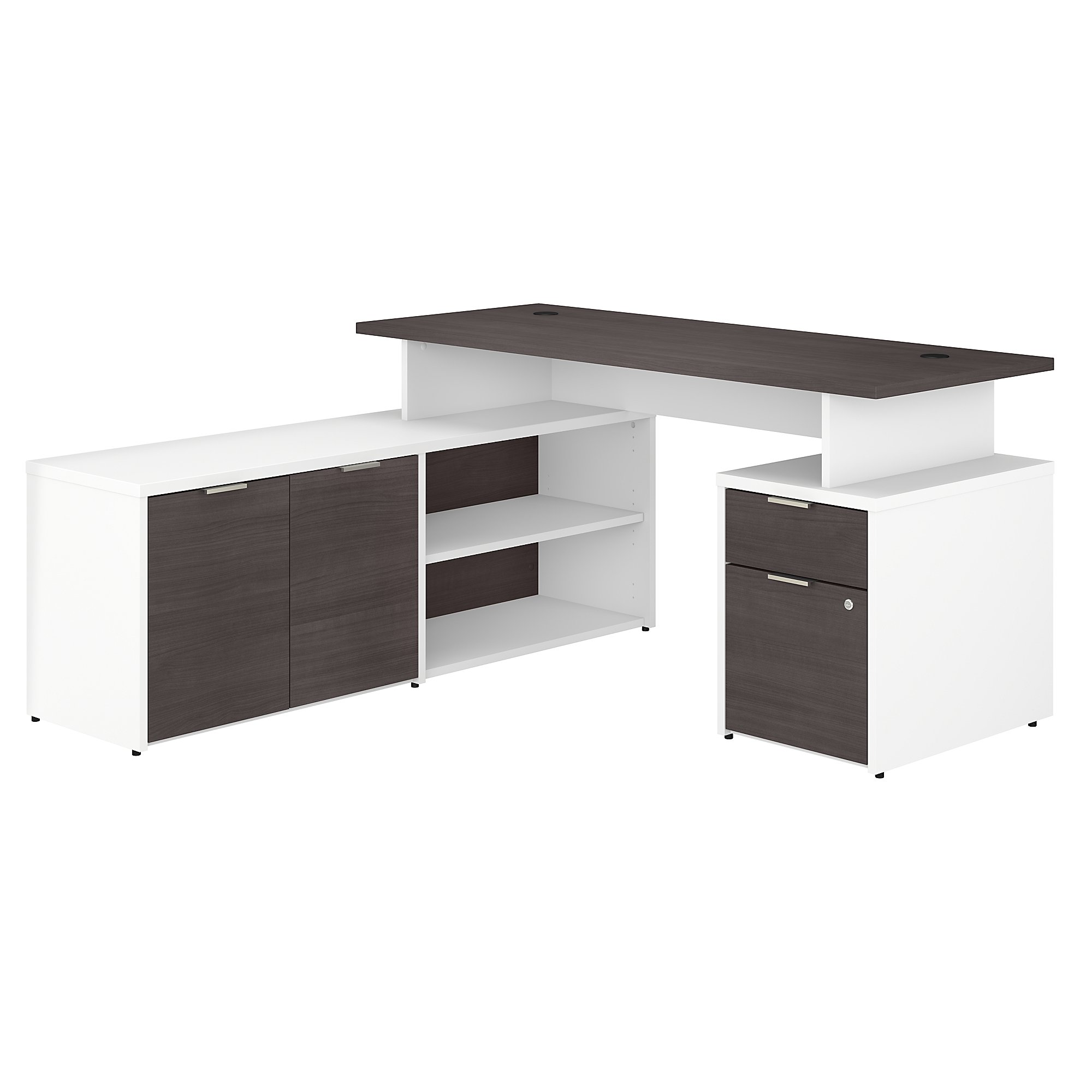 jtn021 jamestown l-desk with storm gray and white finish