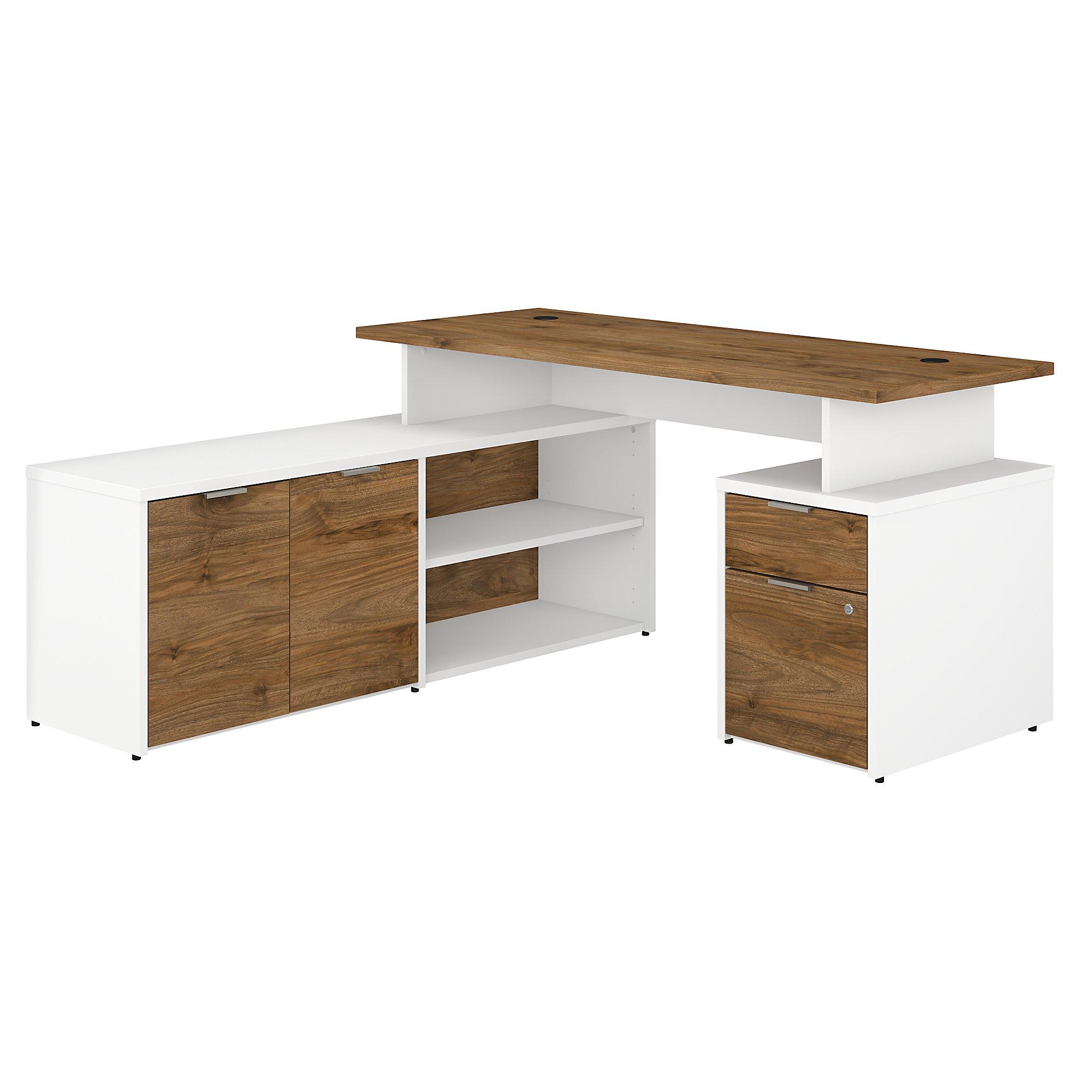 jtn021 jamestown l-desk with fresh walnut and white finish