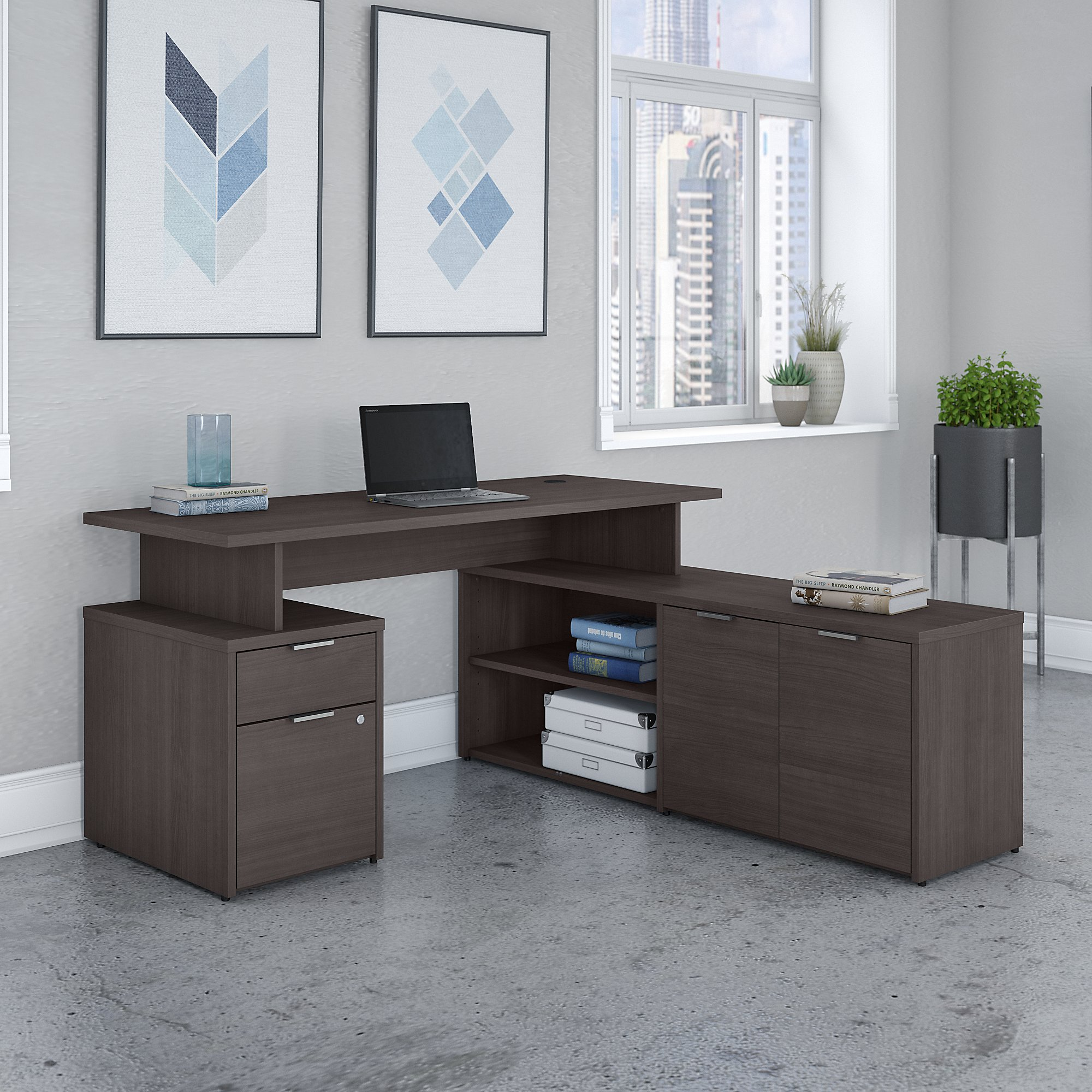 jamestown 60w storm gray l-shaped desk
