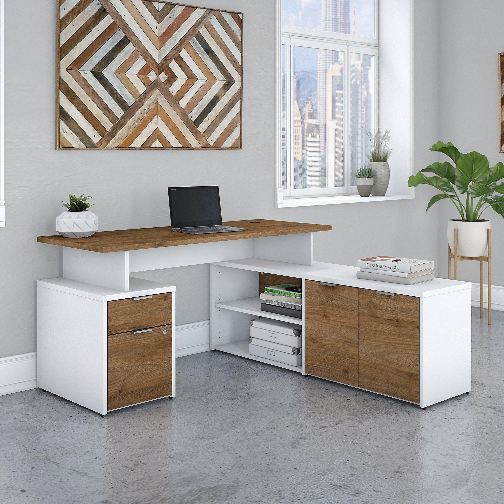 jamestown 60w fresh walnut and white l-shaped desk