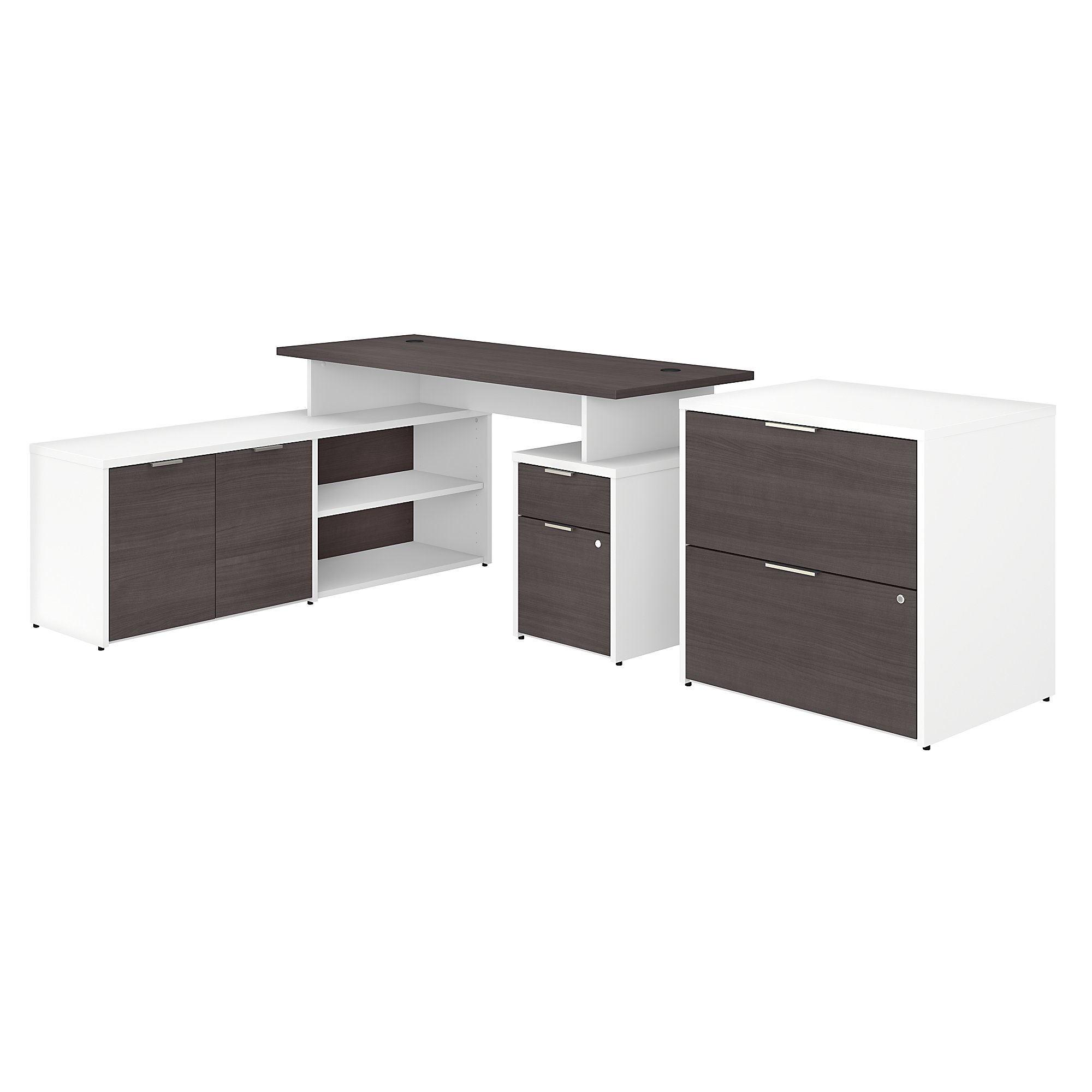 bush business furniture storm gray and white l desk with file