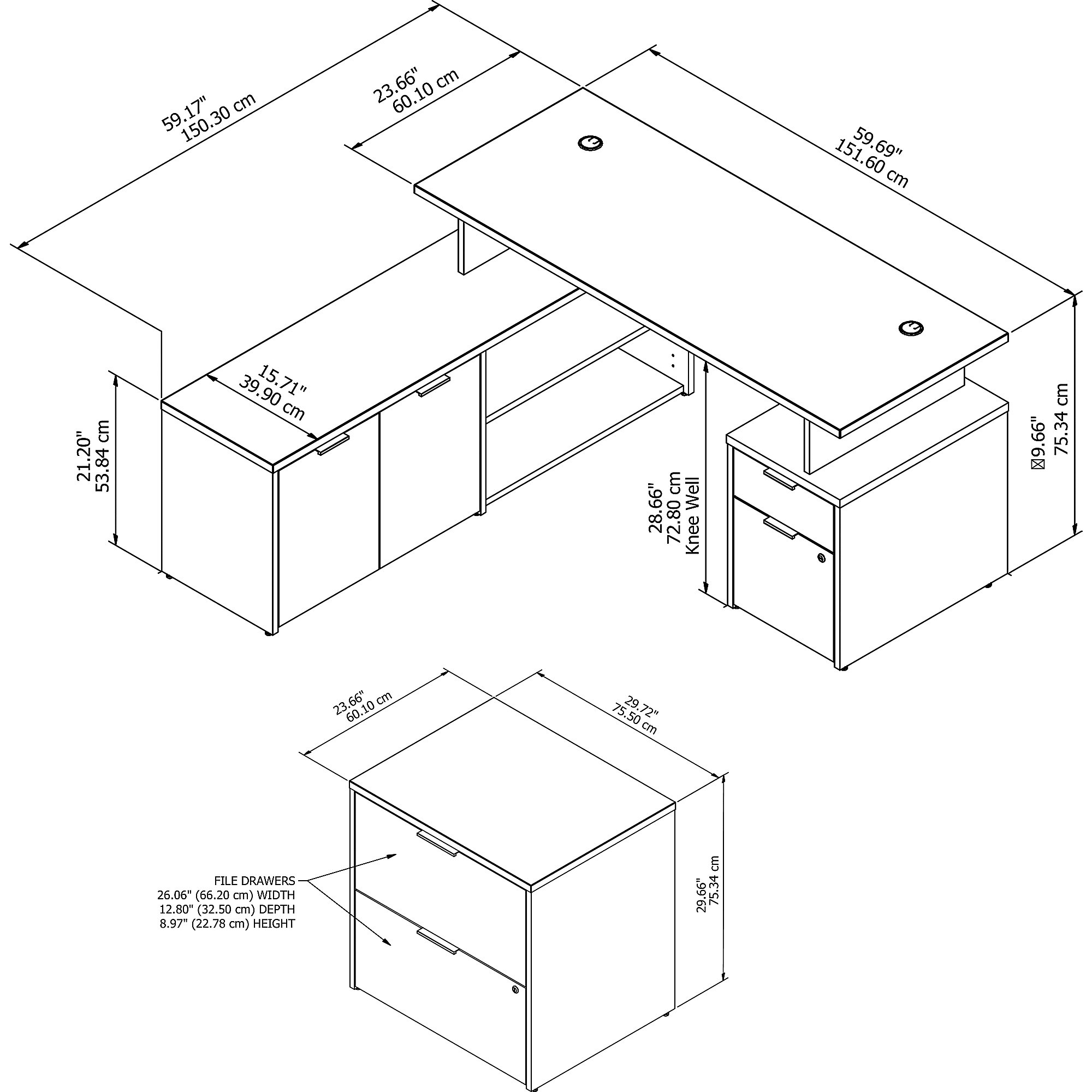 jtn022 desk component dimensions