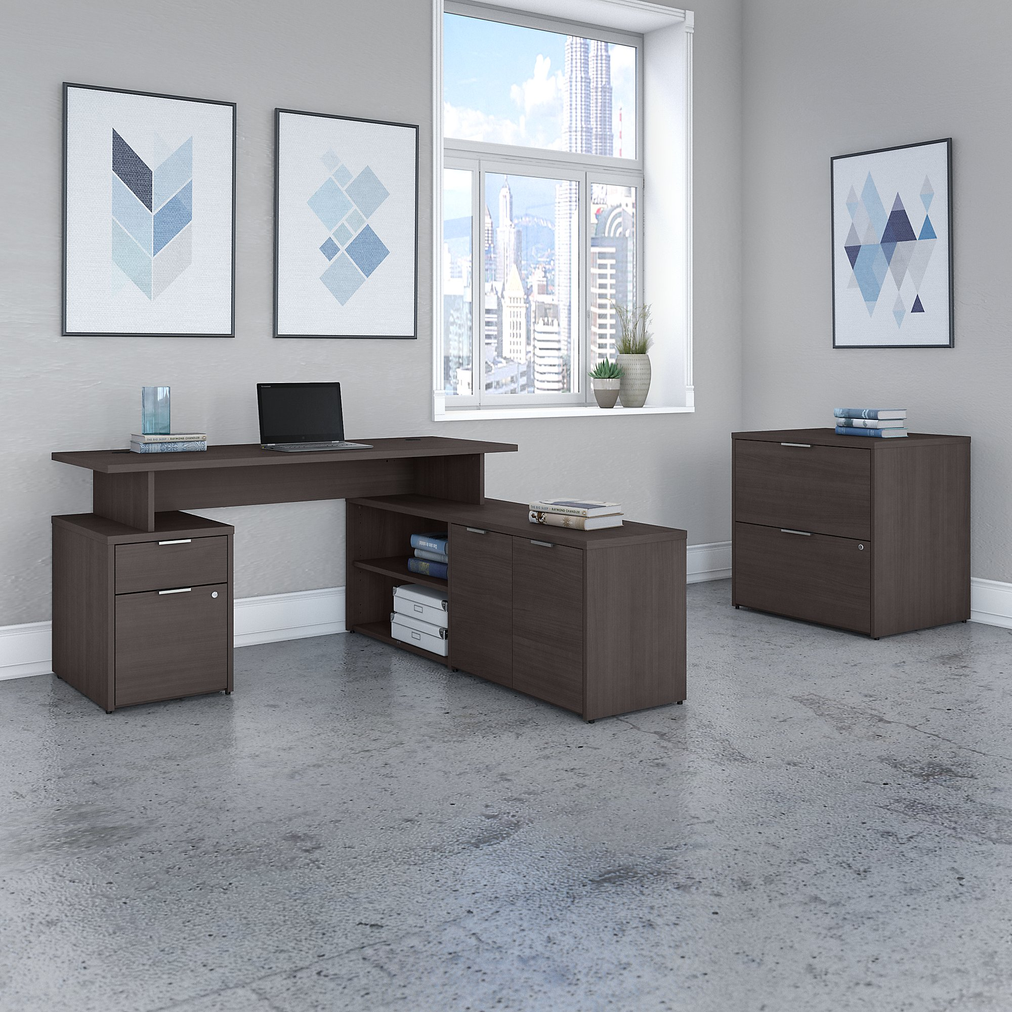 jamestown storm gray l desk with file cabinet