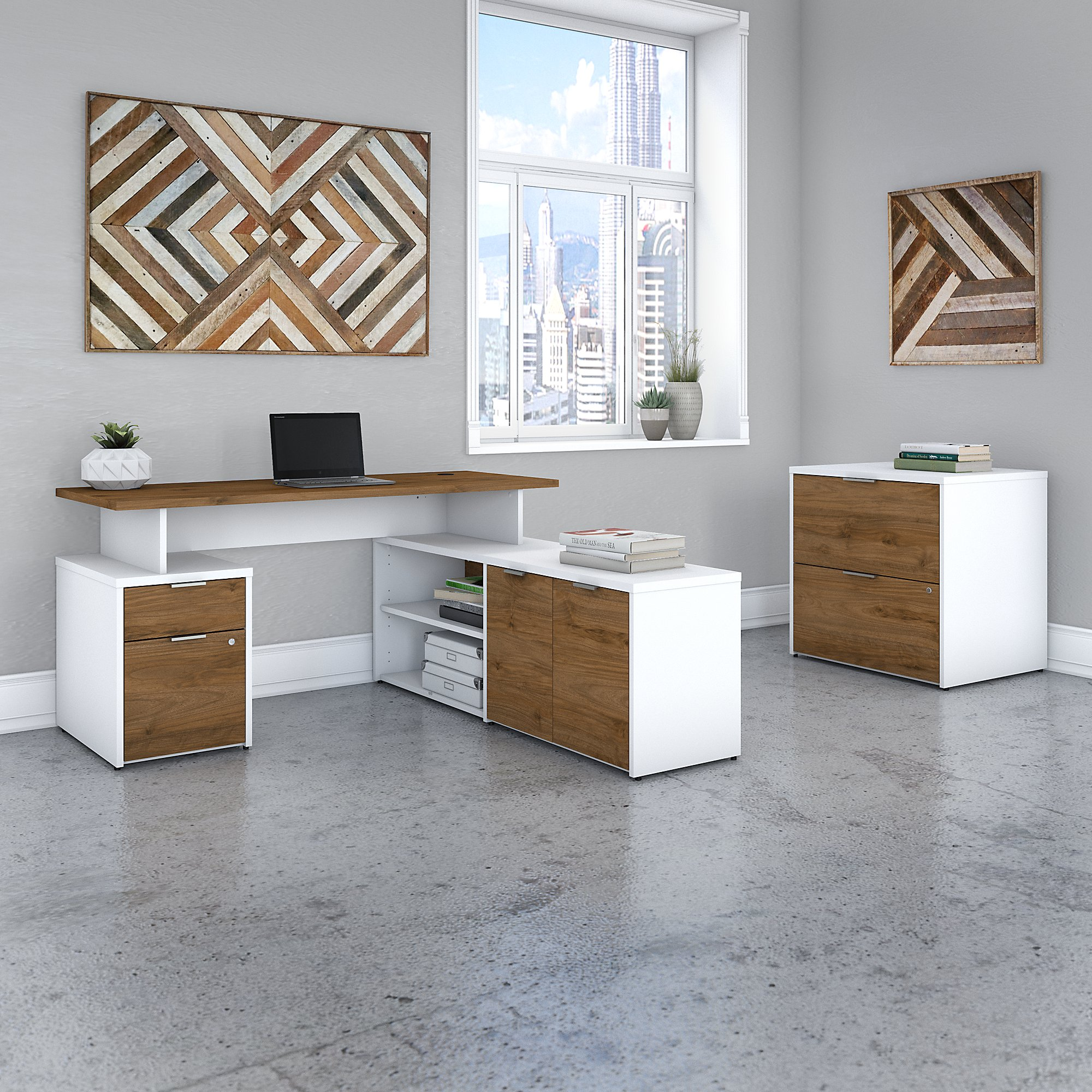 jamestown walnut and white l desk with file cabinet