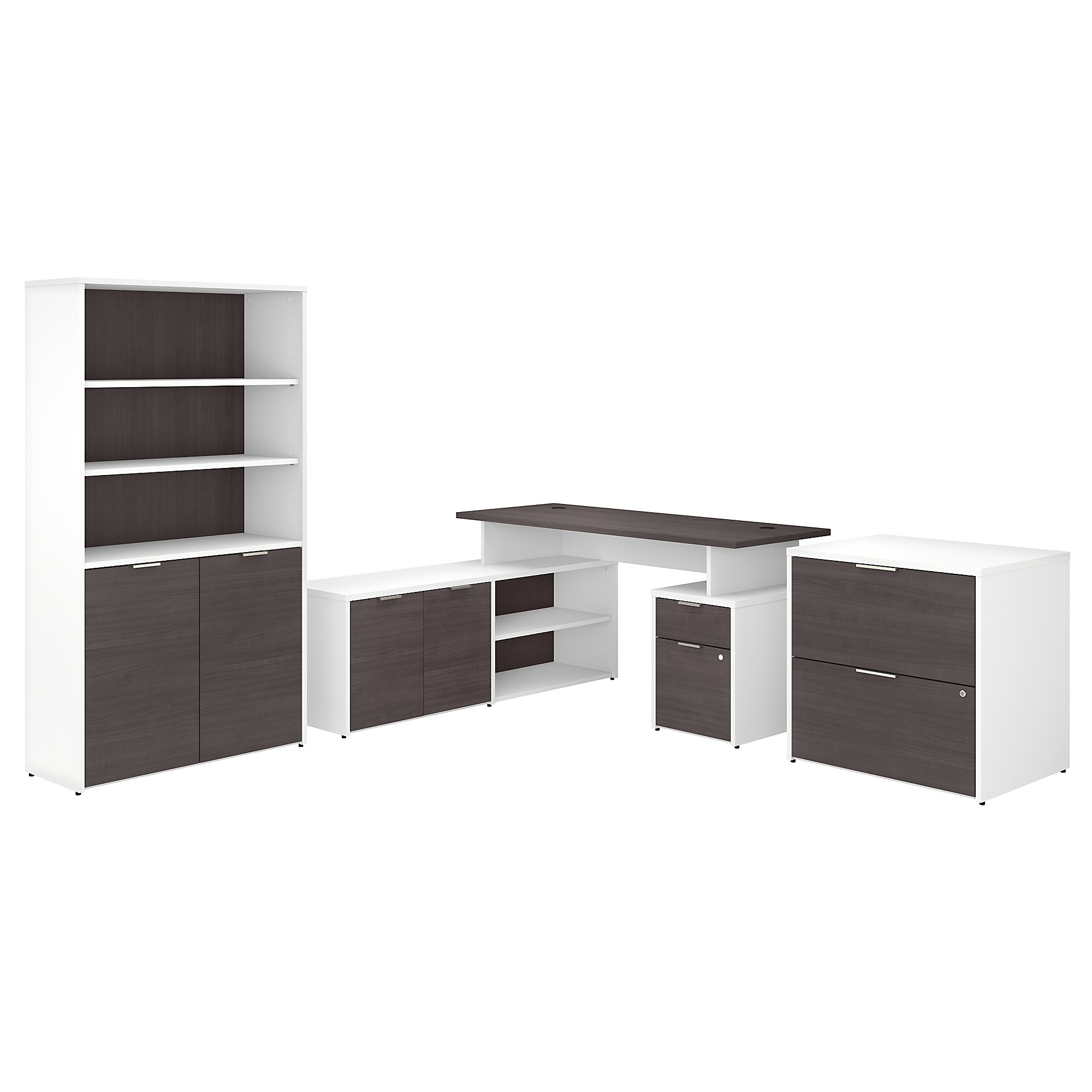 jamestown jtn023 storm gray and white l desk set