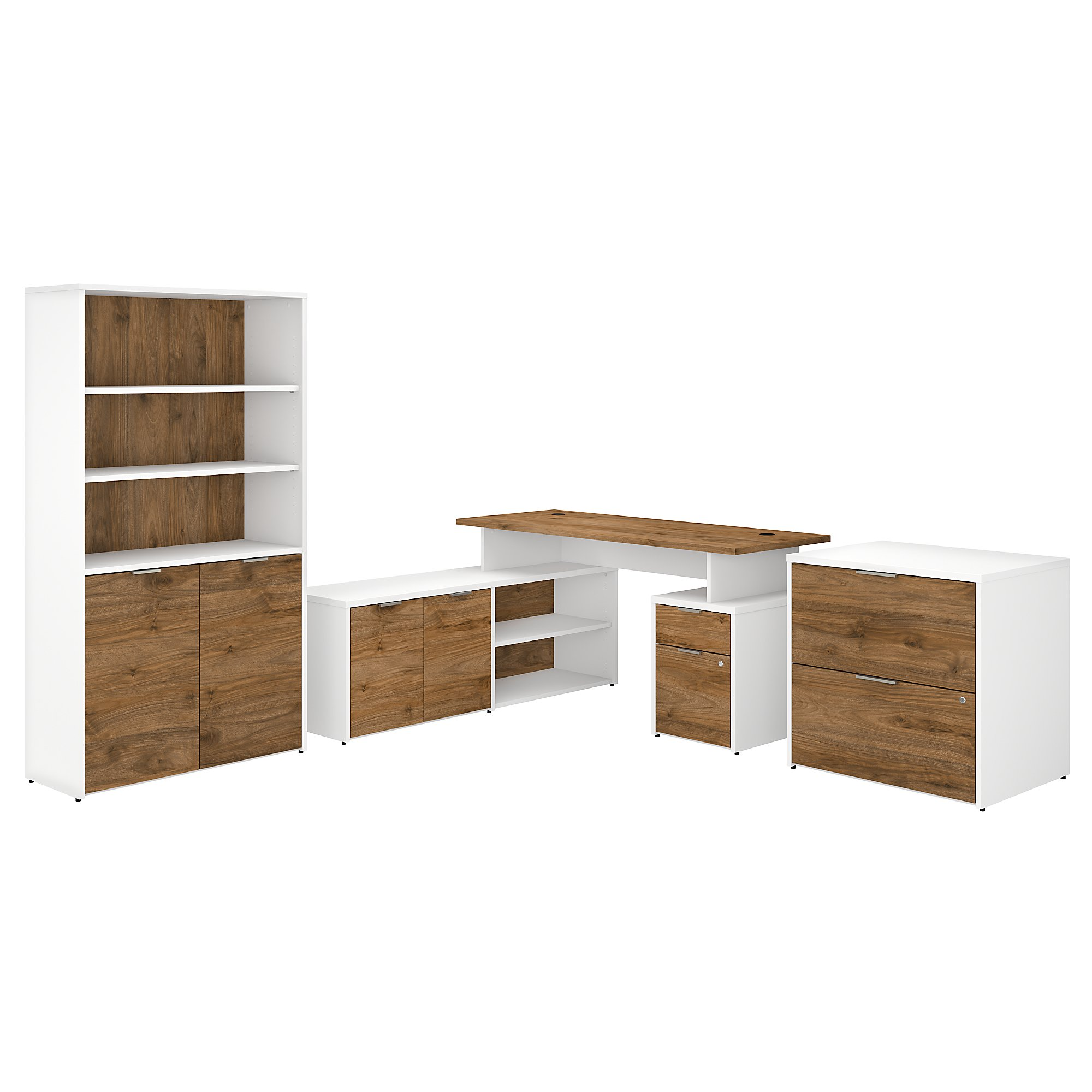jamestown jtn023 walnut and white l desk set