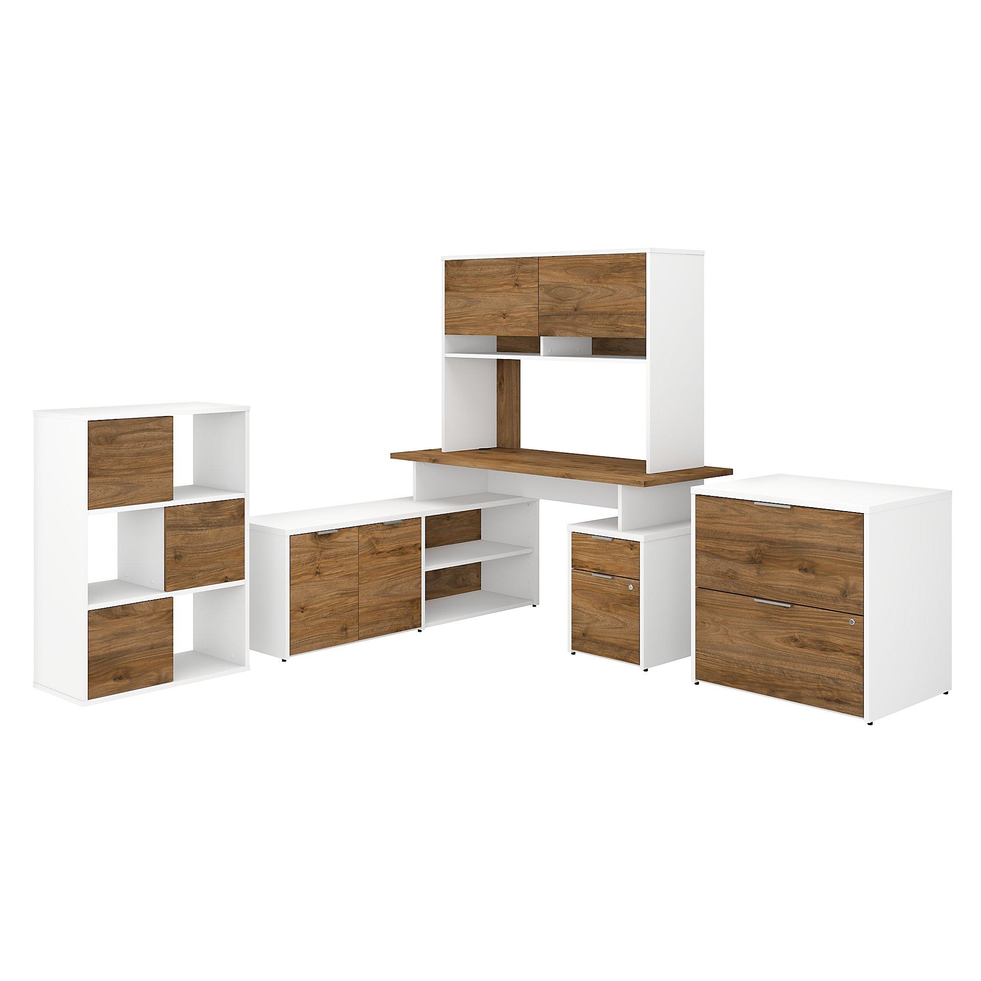 bbf jamestown jtn024 desk configuration with walnut and white finish