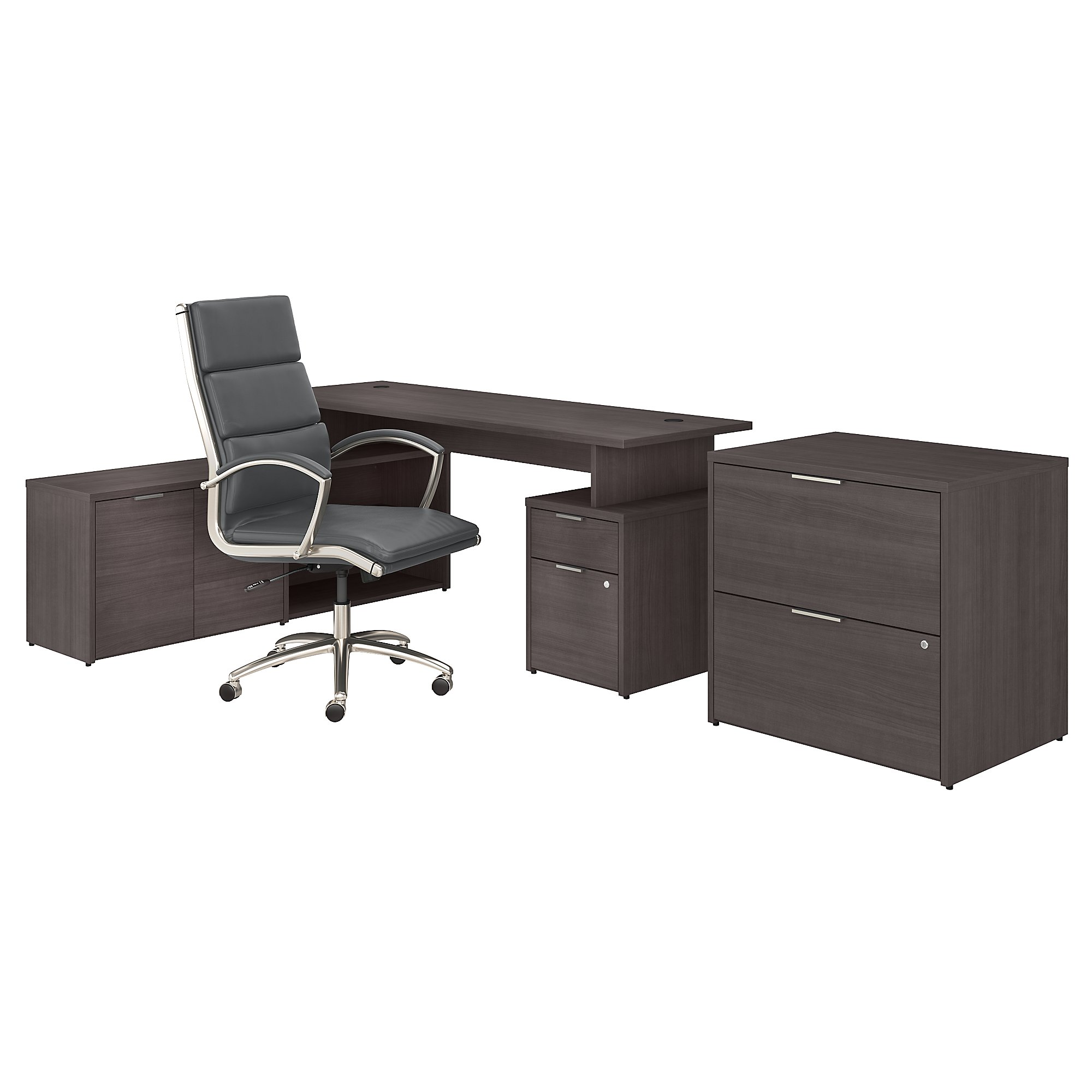 jamestown storm gray desk configuration with chair