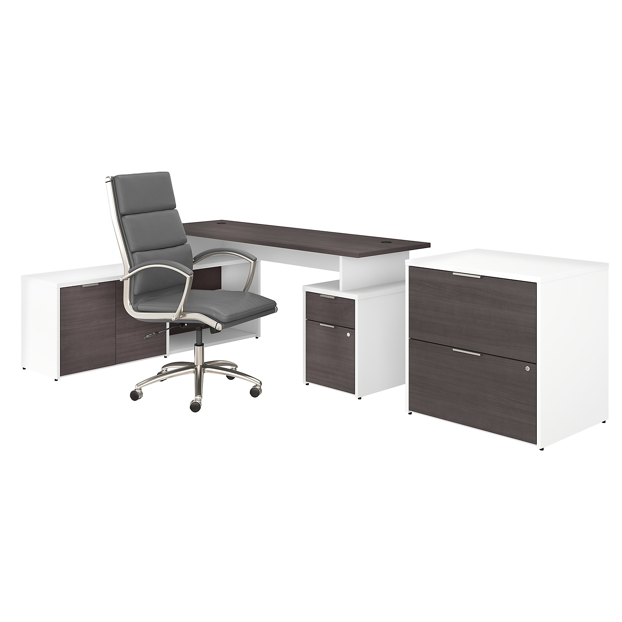 jamestown storm gray and white desk configuration with chair