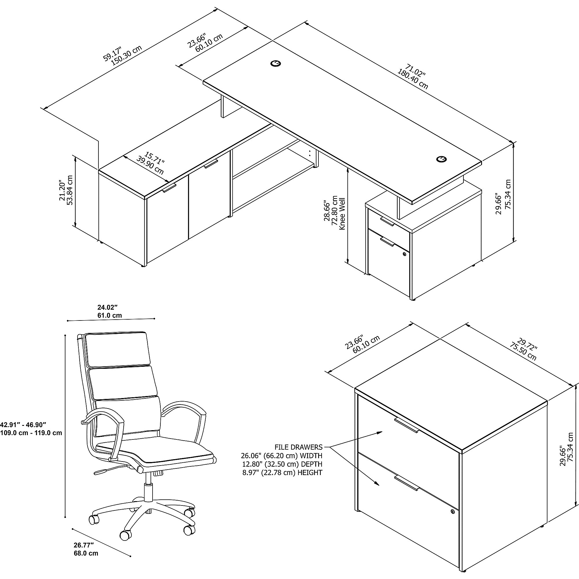 jamestown jtn025 desk and chair dimensions