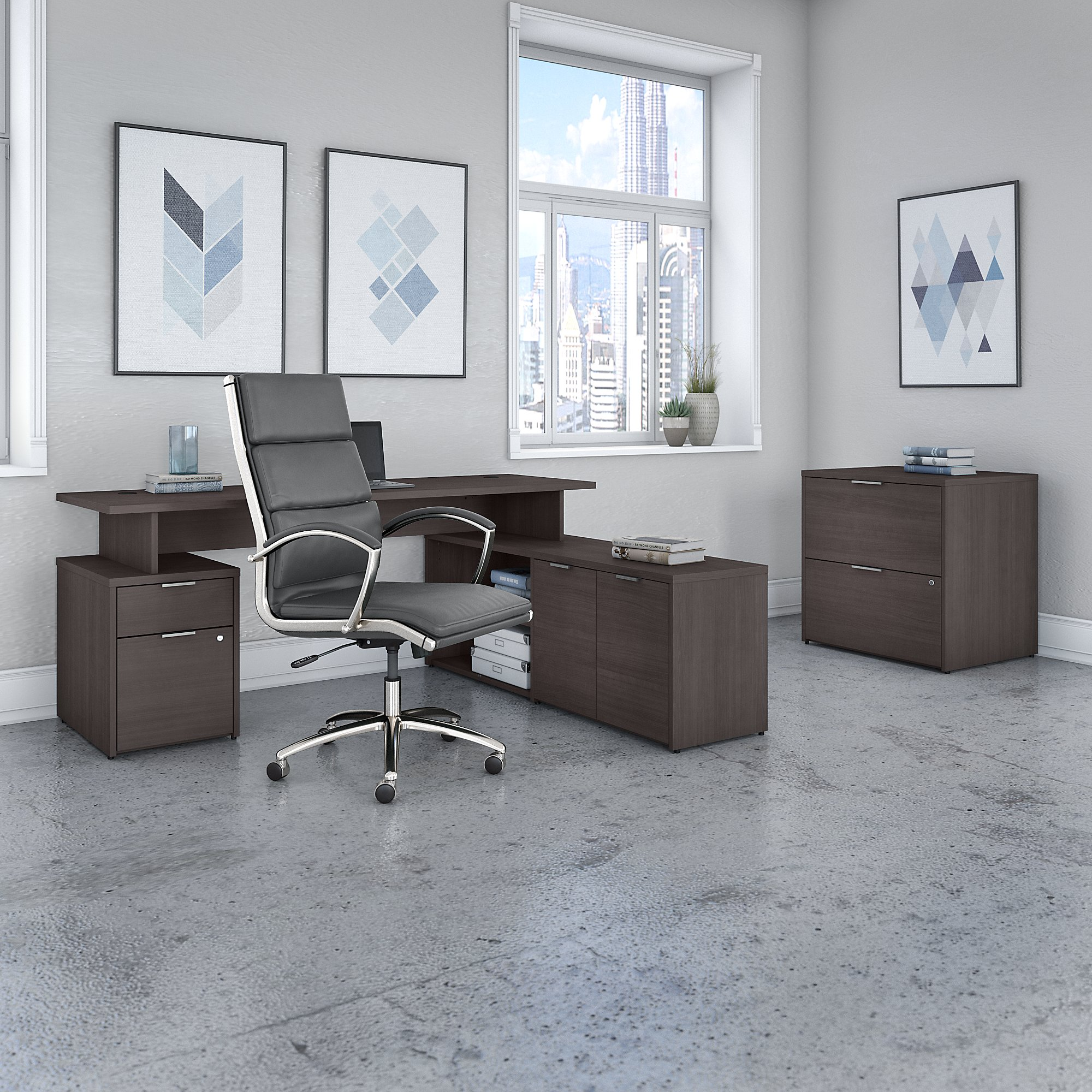 bush business furniture storm gray jamestown furniture set with matching office chair