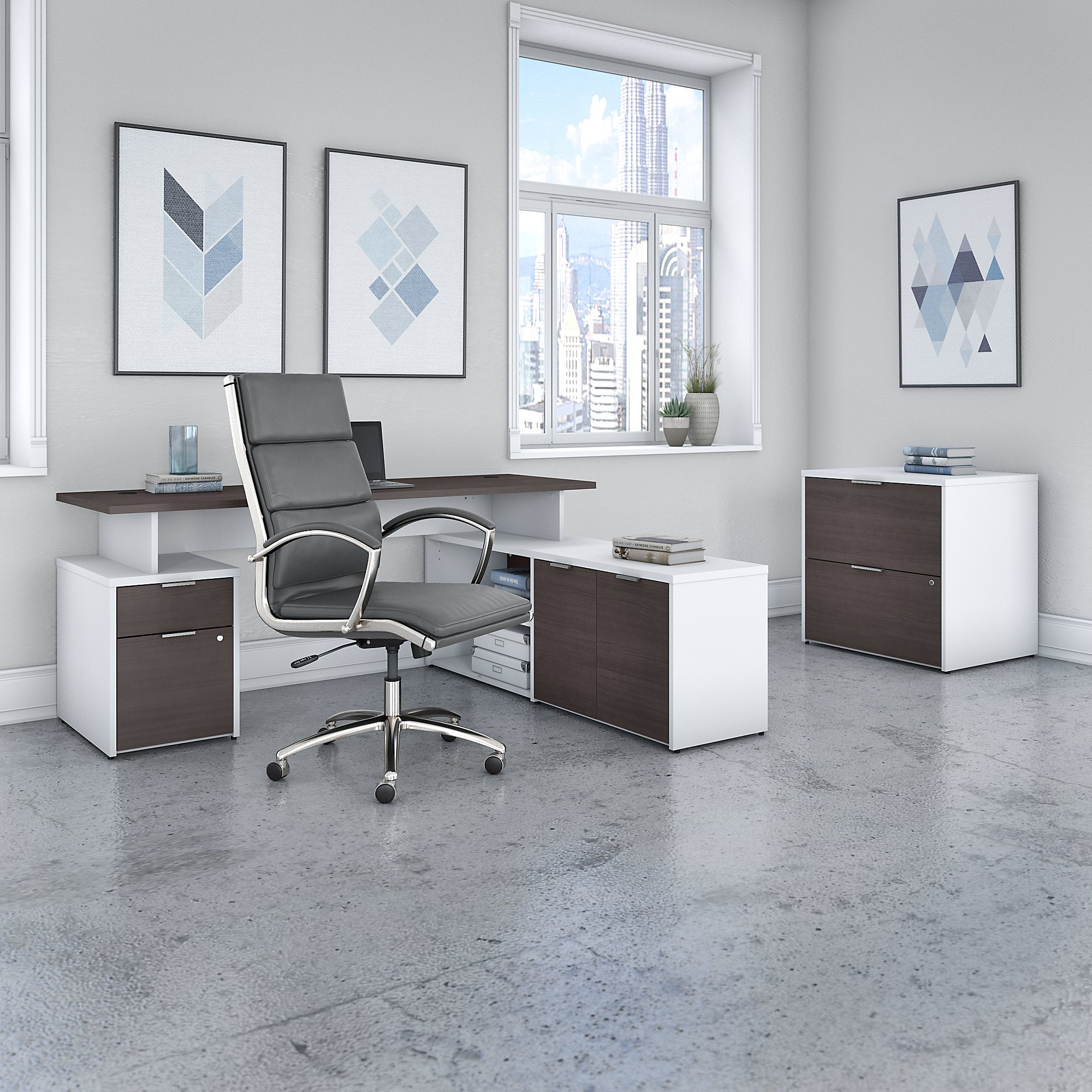 bush business furniture storm gray and white jamestown furniture set with matching office chair
