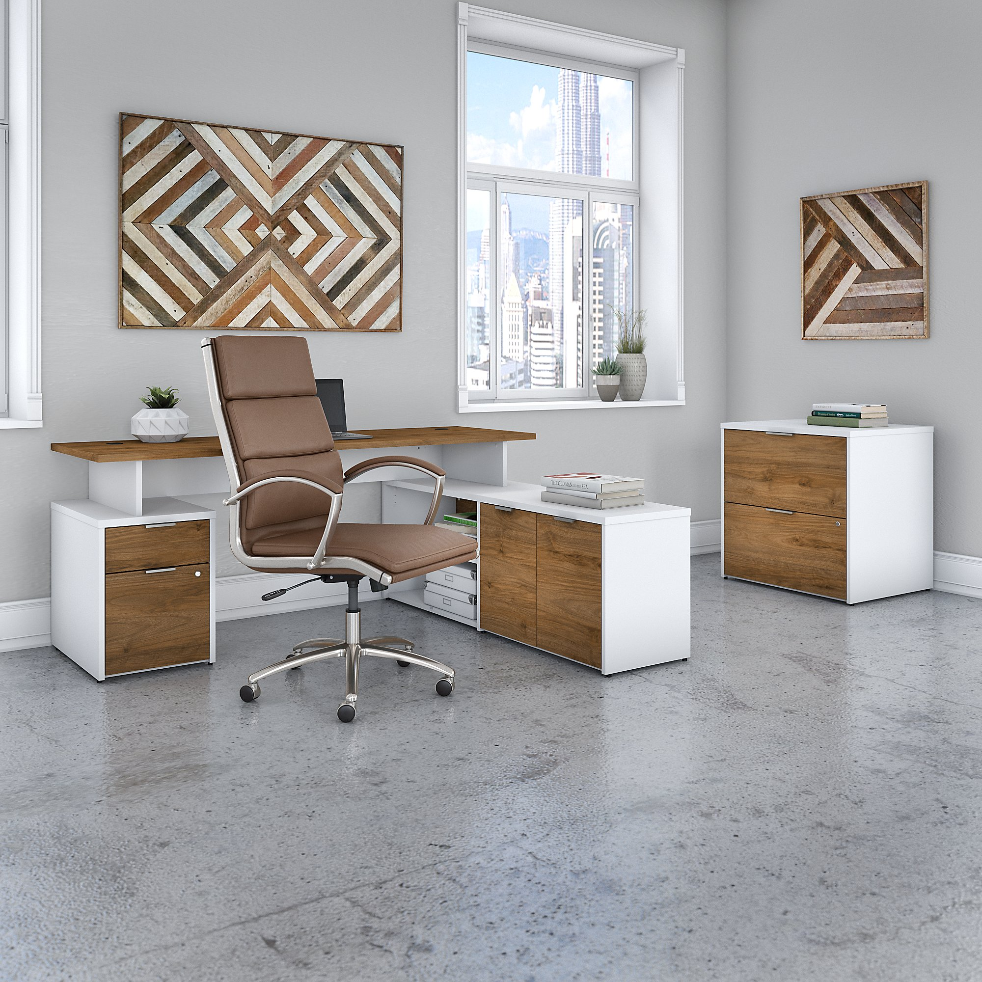 bush business furniture walnut jamestown furniture set with matching office chair