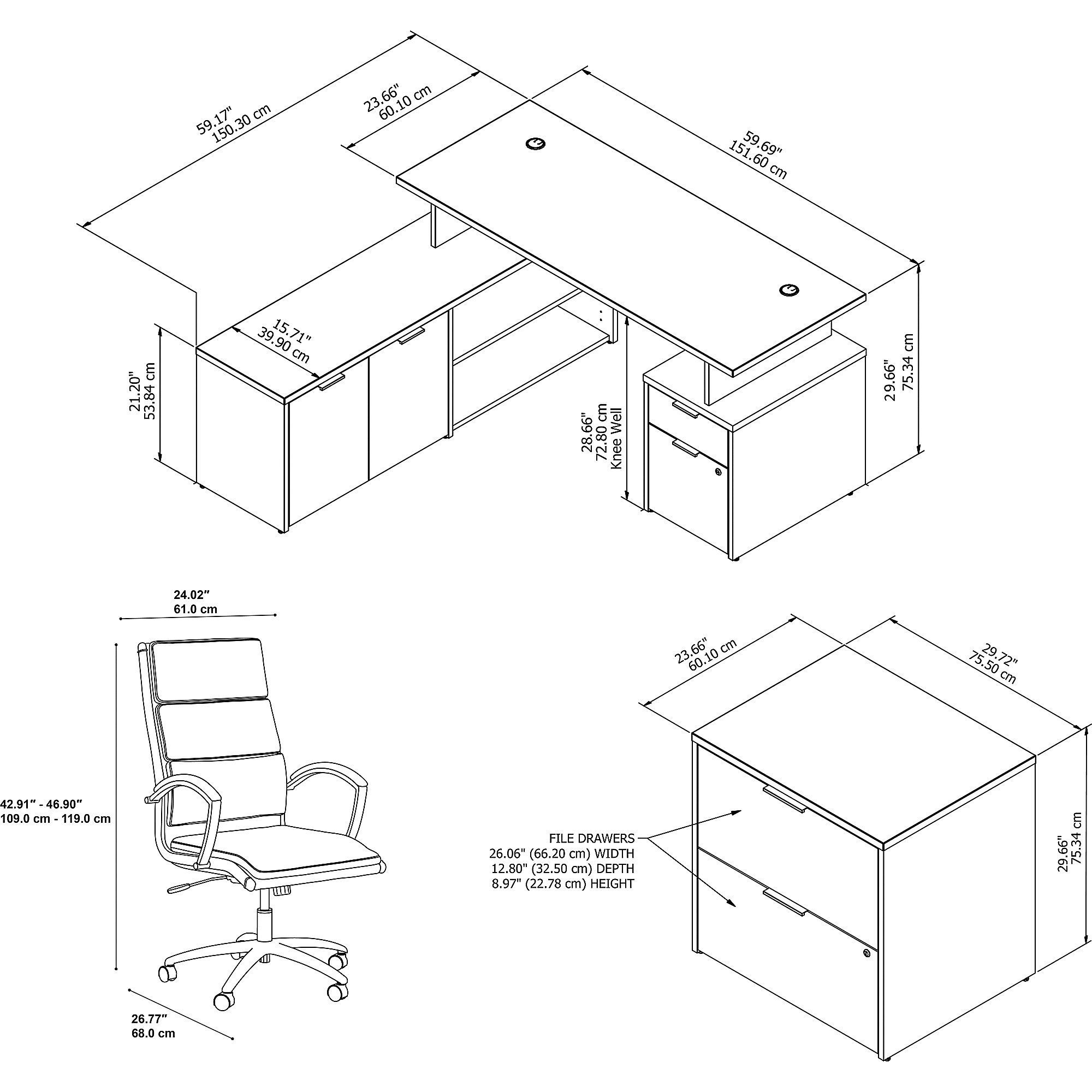 jamestown complete desk dimensions line drawing - jtn026