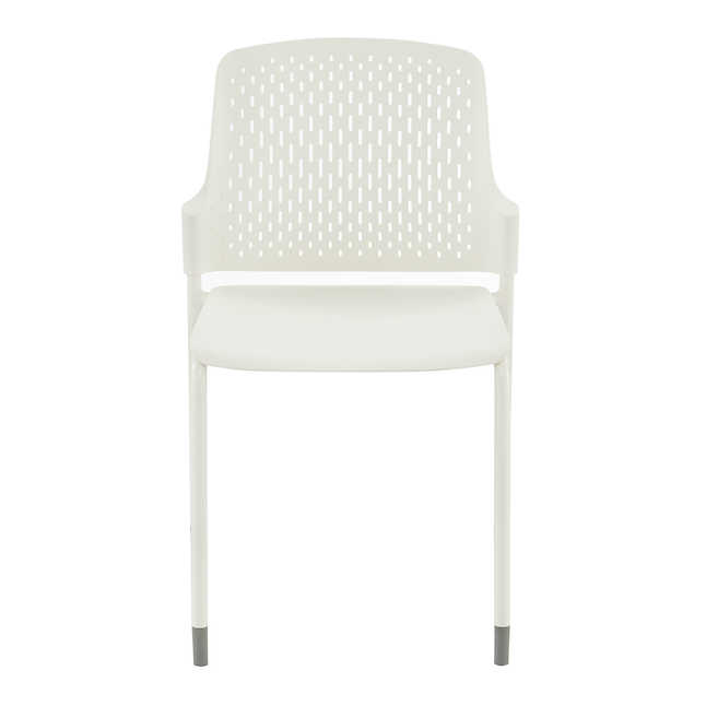 white poly stack chair