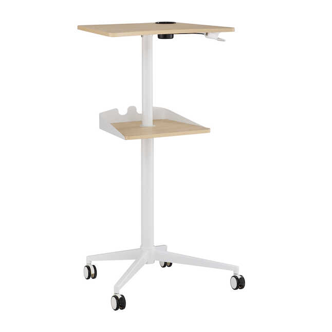 safco vum height adjustable mobile workstation with raised top