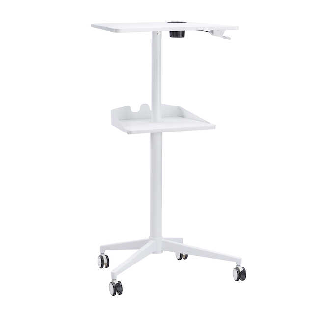 safco vum height adjustable mobile workstation in white