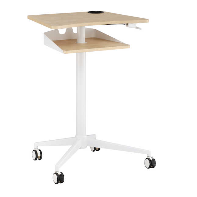 safco vum height adjustable mobile workstation with lowered top