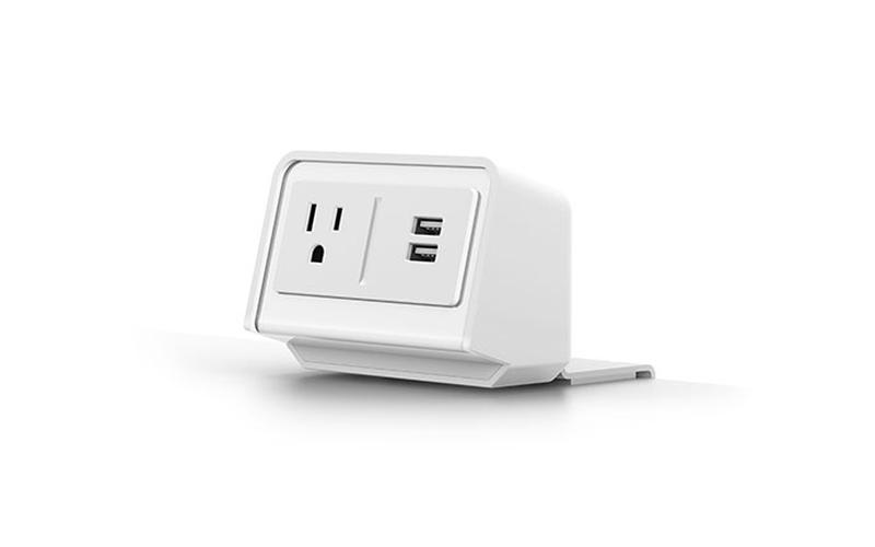 white flexcharge3 clamp on desk power module