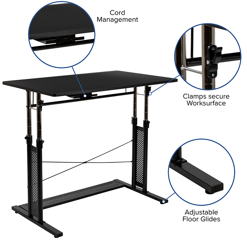 flash furniture height adjustable laptop desk features