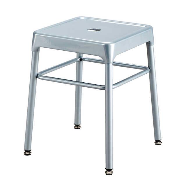 silver steel guest stool