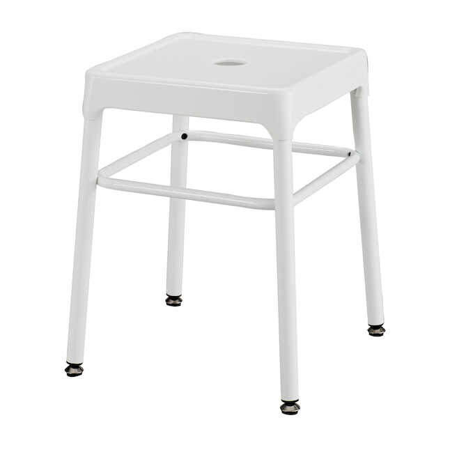 white steel guest stool