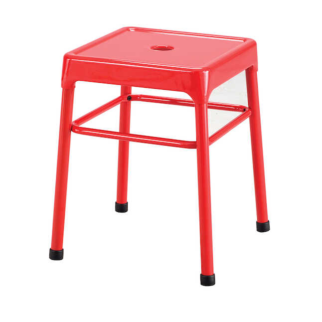 red steel guest stool