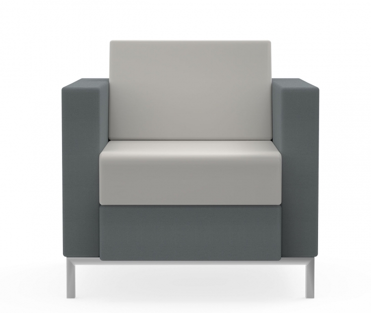 citi square fabric and leather lounge chair