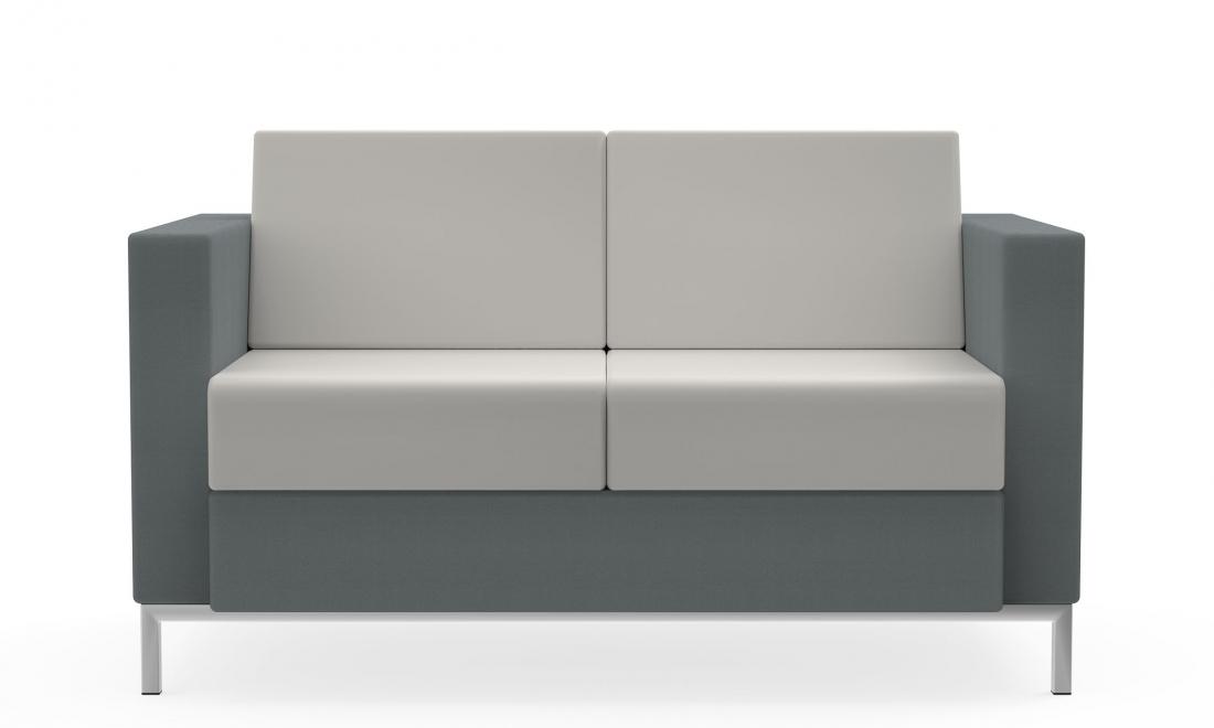 global citi square 2 seat fabric and leather sofa