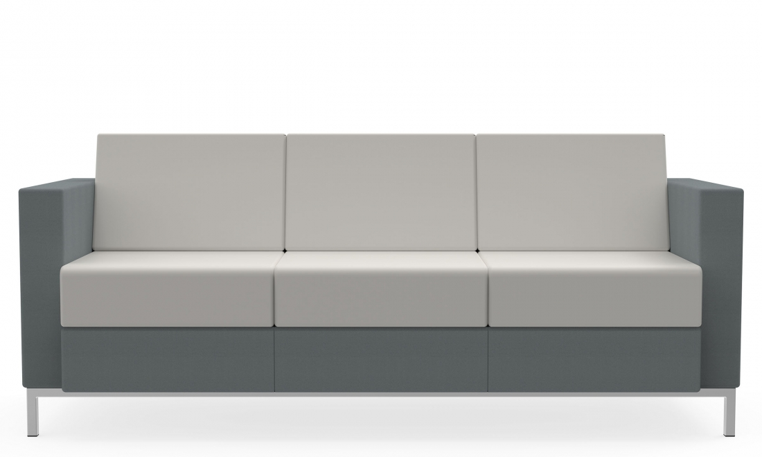 citi square 3 seat fabric and leather two tone sofa