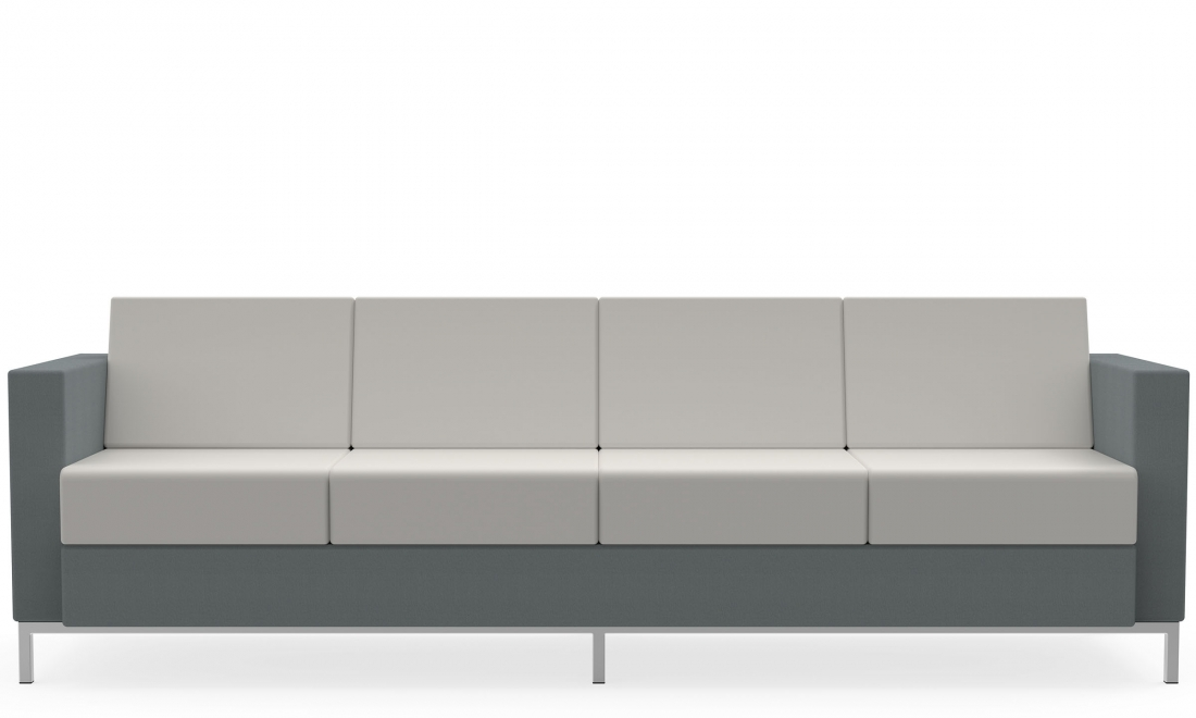 global citi square 4 seat sofa with fabric and leather upholstery