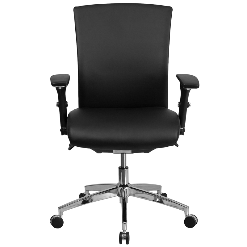 black leather 24 hr office chair