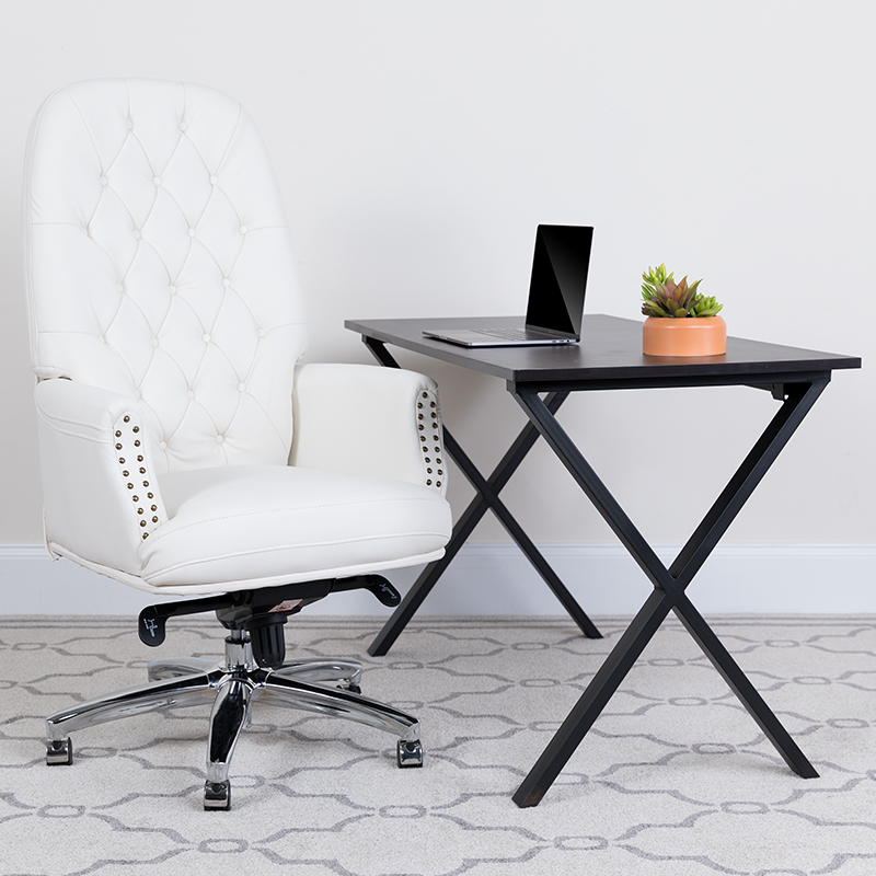 flash furniture tufted white leather office chair
