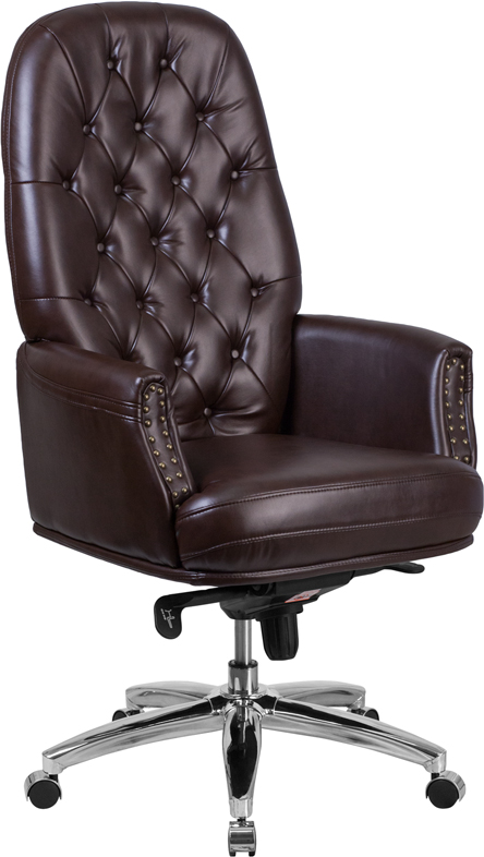 tufted brown leather office chair