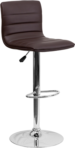 Brown Vinyl Armless Bar Stool with Retro Style by Flash Furniture