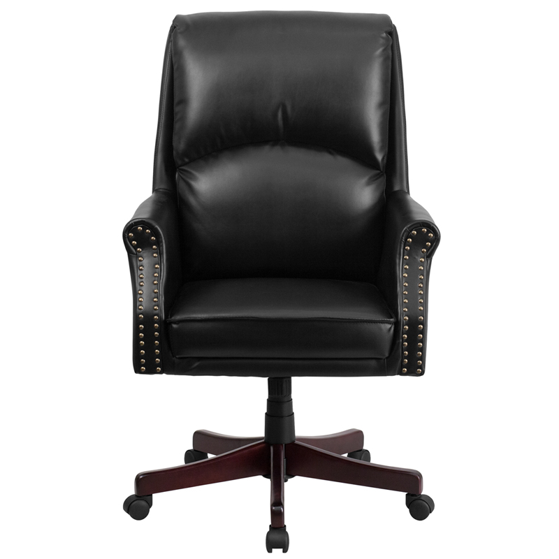 leather executive chair with nailhead trim