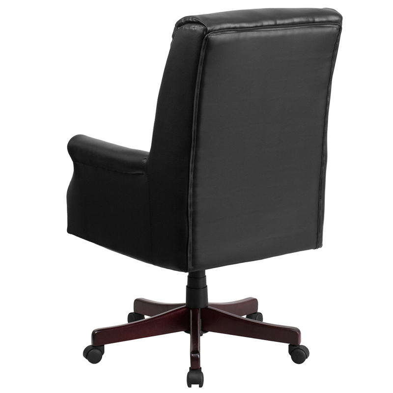 black leather pillow back chair