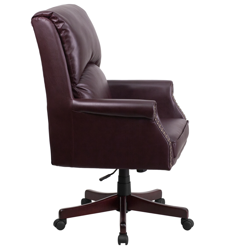 burgundy leather traditional office chair front view