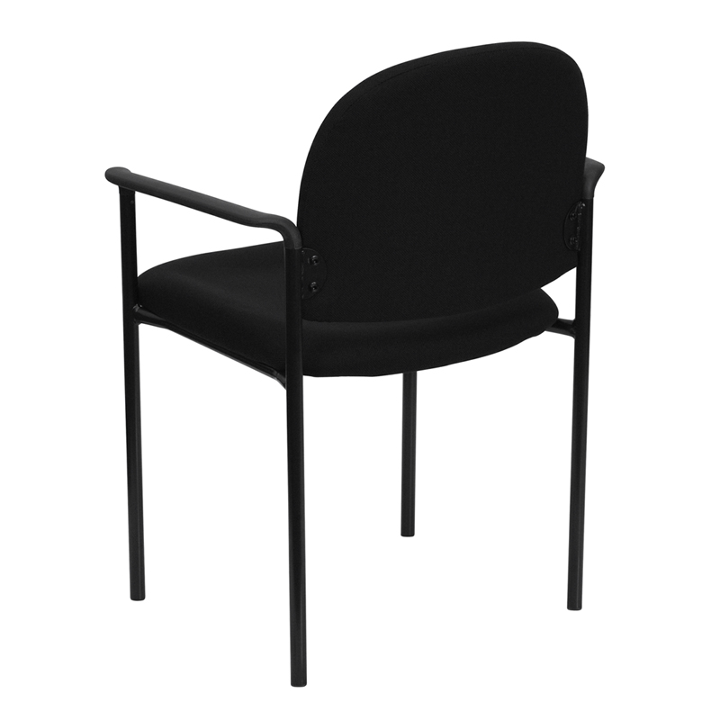 black fabric stack chair with arms back view